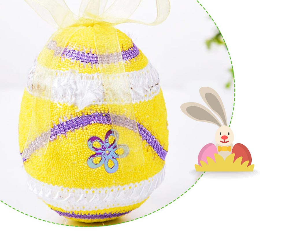 Large Foam Easter Egg Decoration 9cm, Large Size Pendant with Hanging Ribbon Easter Ornaments 7