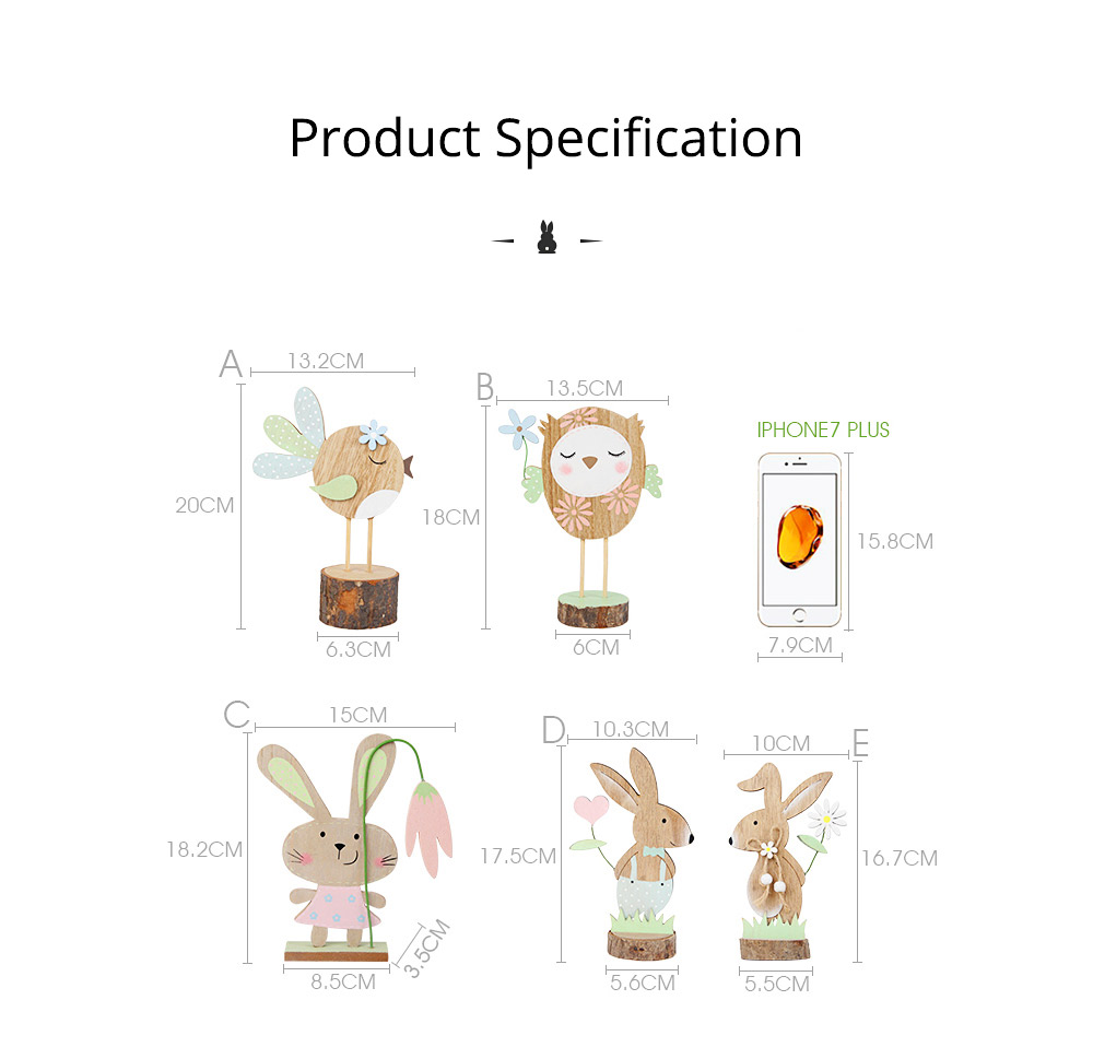 Office and Living Room Easter Decoration - Handmade Wooden Animals with Texture Buckle and Hanging Bead 9