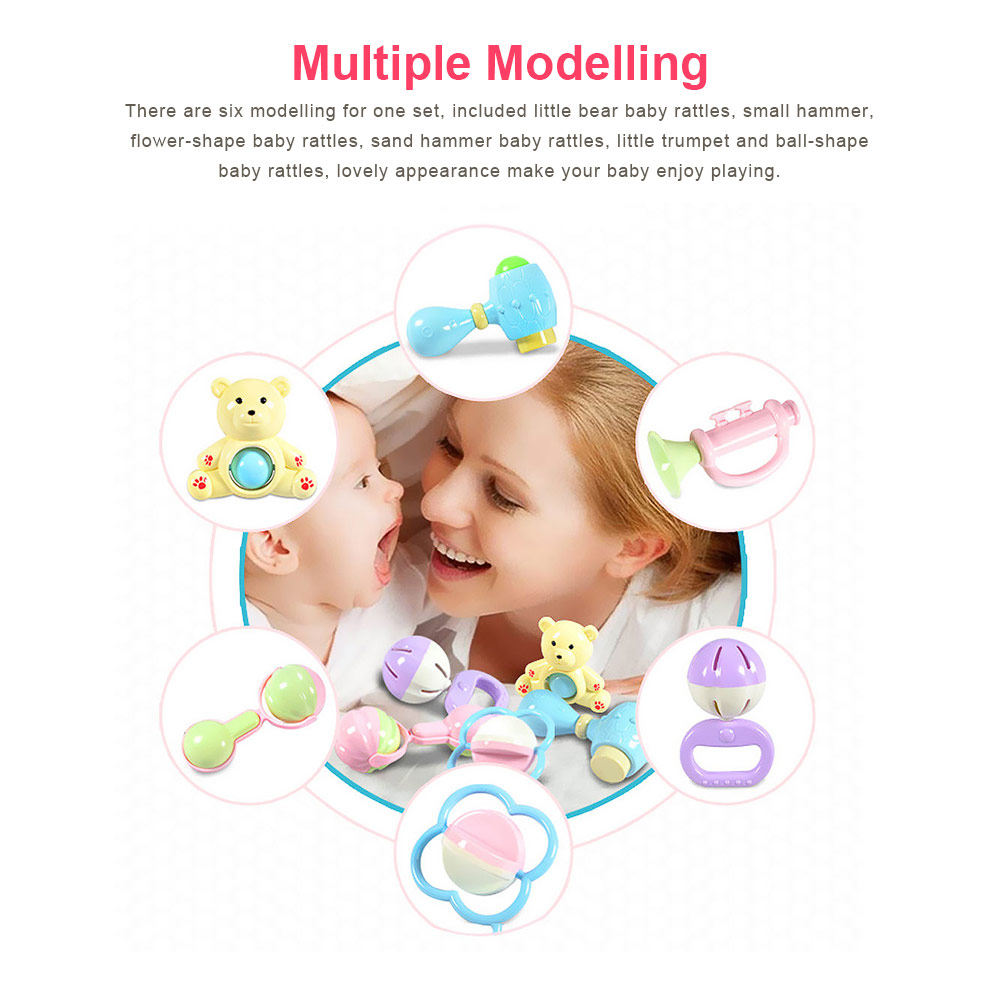 Baby Rattles Teether Toy Spin Rattle, Early Educational Toys Bell Rattle Set for 0-24 Months Baby Infant, 6 PCS 4