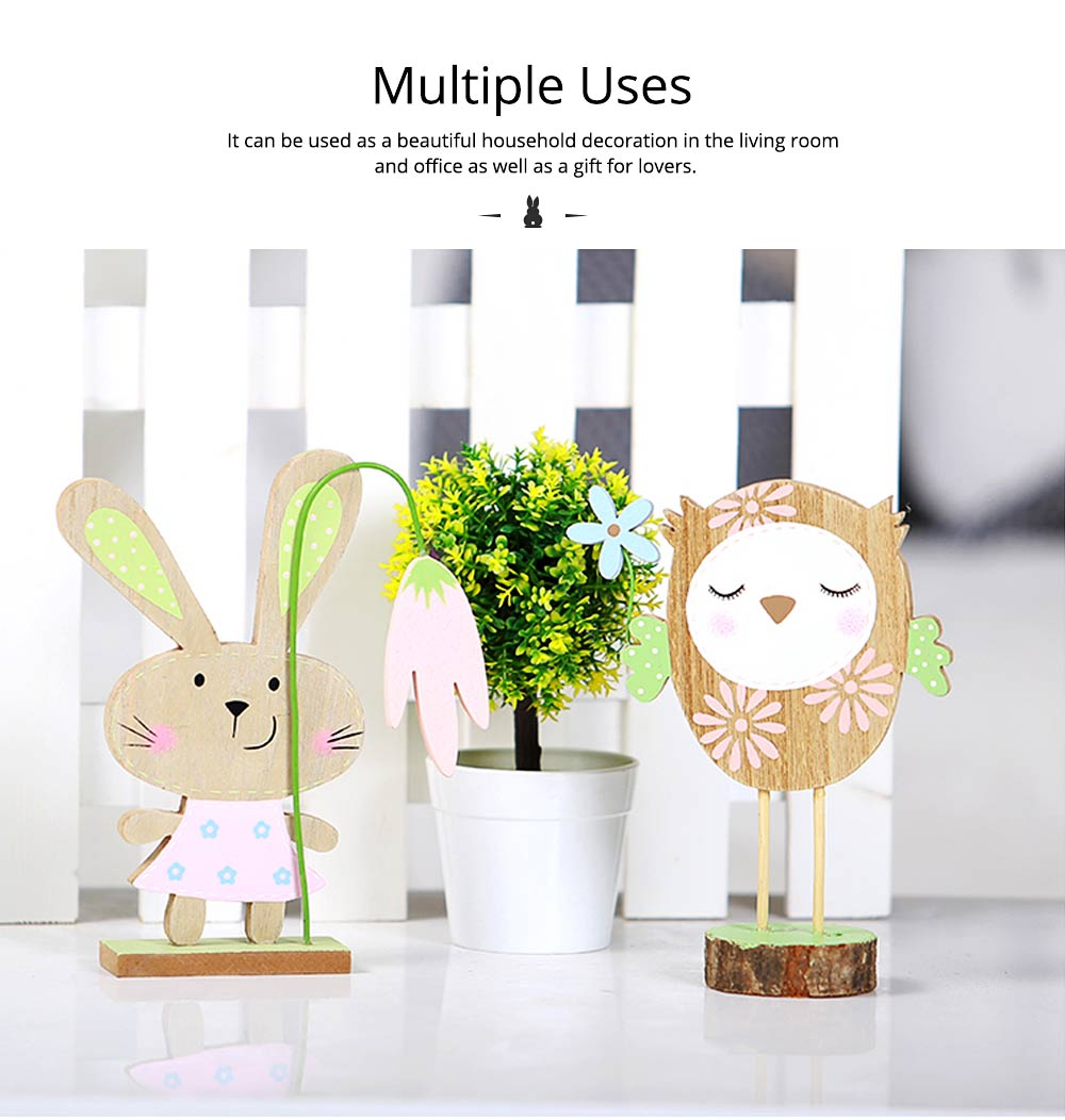 Office and Living Room Easter Decoration - Handmade Wooden Animals with Texture Buckle and Hanging Bead 6