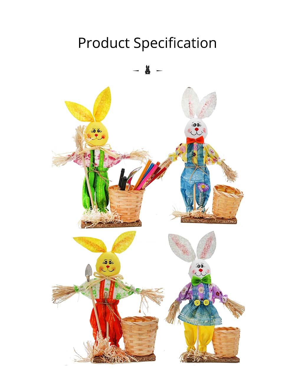 Easter Bunny Decorates as Brush Pot with Cute Rabbit Scarecrow Design, Kindergarten Gift 6