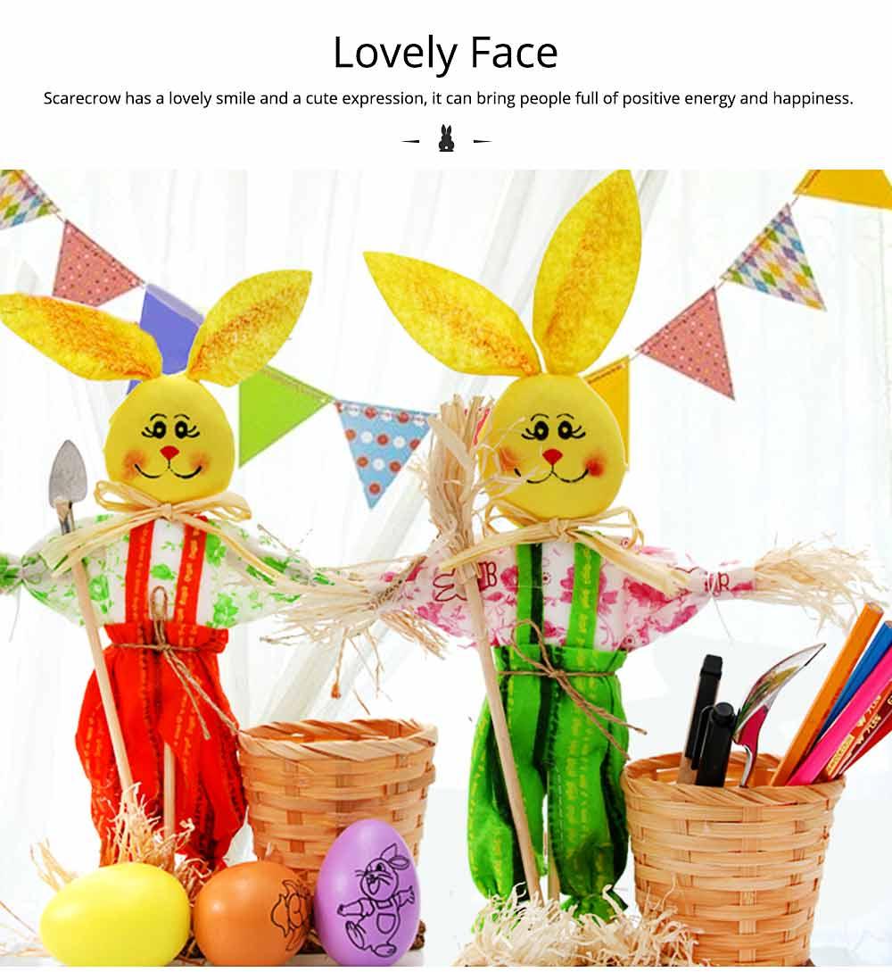 Easter Bunny Decorates as Brush Pot with Cute Rabbit Scarecrow Design, Kindergarten Gift 5
