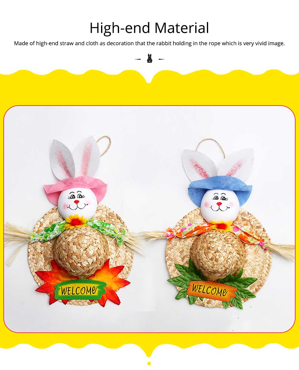 Bunny Hat Pendant for Easter Decoration, Straw Woven Rattan Weaving Hat with Cartoon Design, DIY Handmade Hat 5