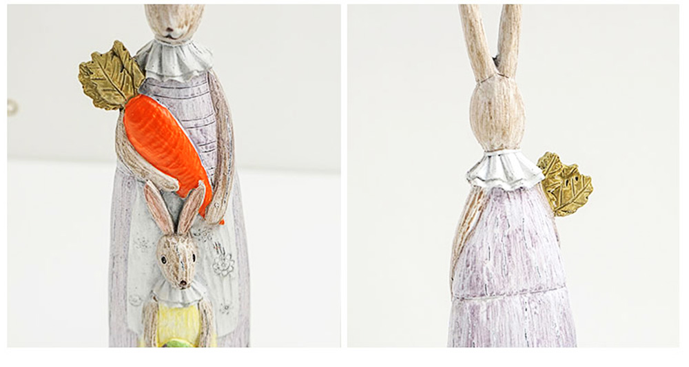Resin Rabbit Crafts Ornaments Gifts for Easter Birthday, Pastoral Hand-painted Rabbit Decoration 11