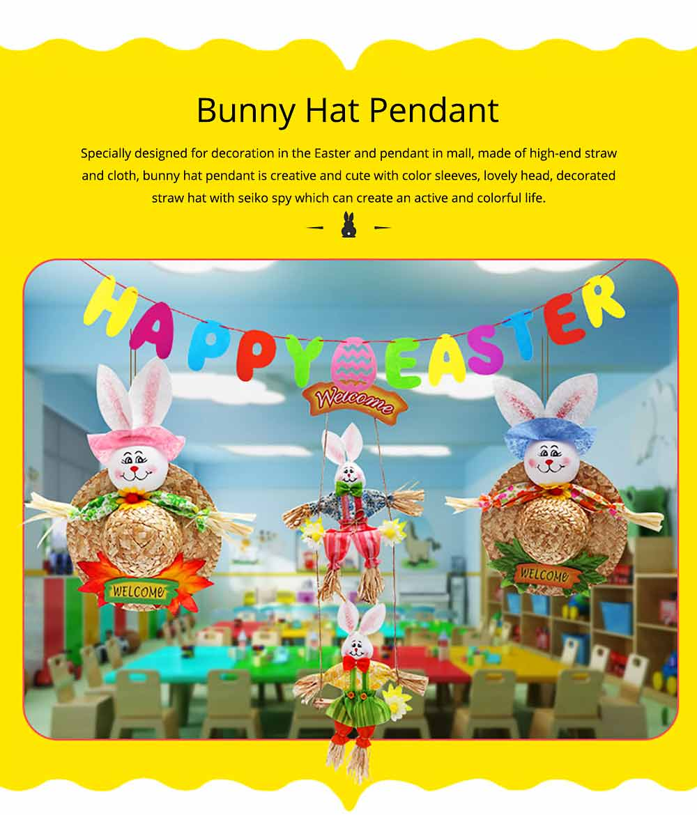 Bunny Hat Pendant for Easter Decoration, Straw Woven Rattan Weaving Hat with Cartoon Design, DIY Handmade Hat 0