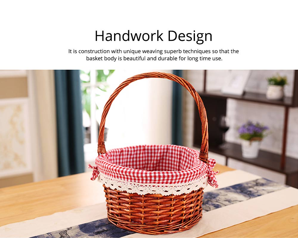Mini Picnic Basket for Children, Willow Woven Hand-basket with Cotton and Linen Lining and Bud Silk 5