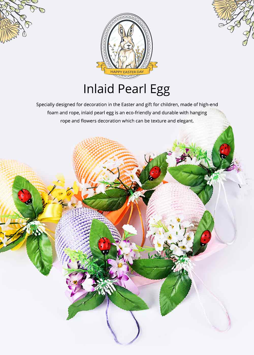 Inlaid Pearl Egg Easter Decoration With 10cm Diameter, Indoor Outdoor Hanging Easter Egg Flower Basket 0