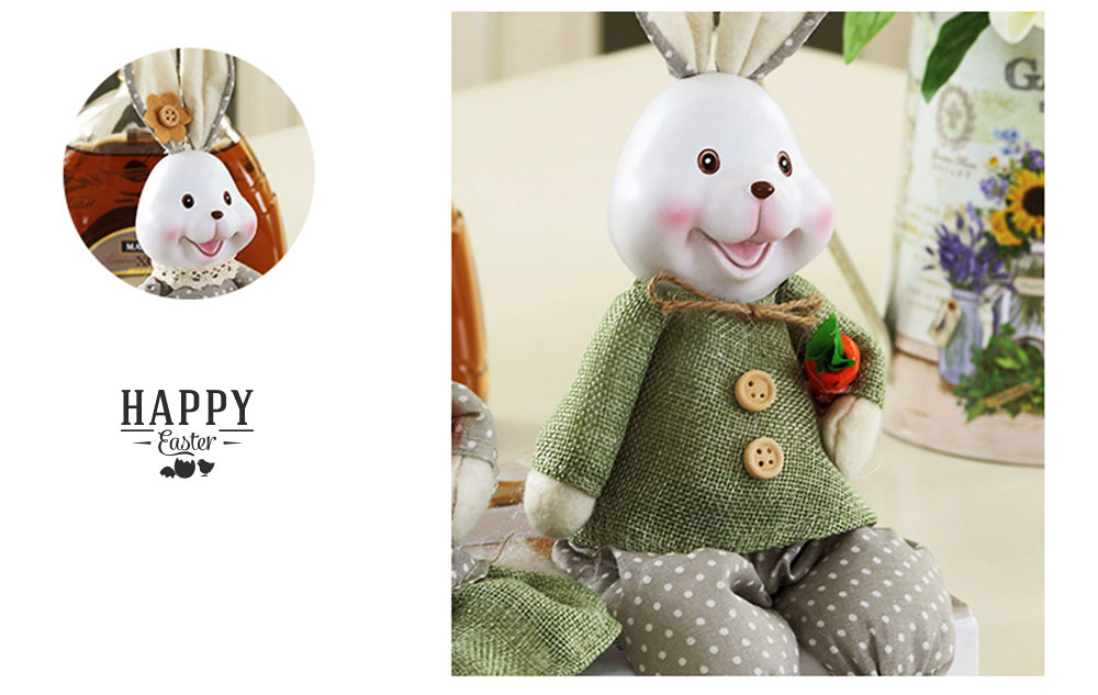 Resin Rabbit Doll Ornaments, Easter Bunny Ornaments Creative Gift for Birthday Wedding Household Decoration 2