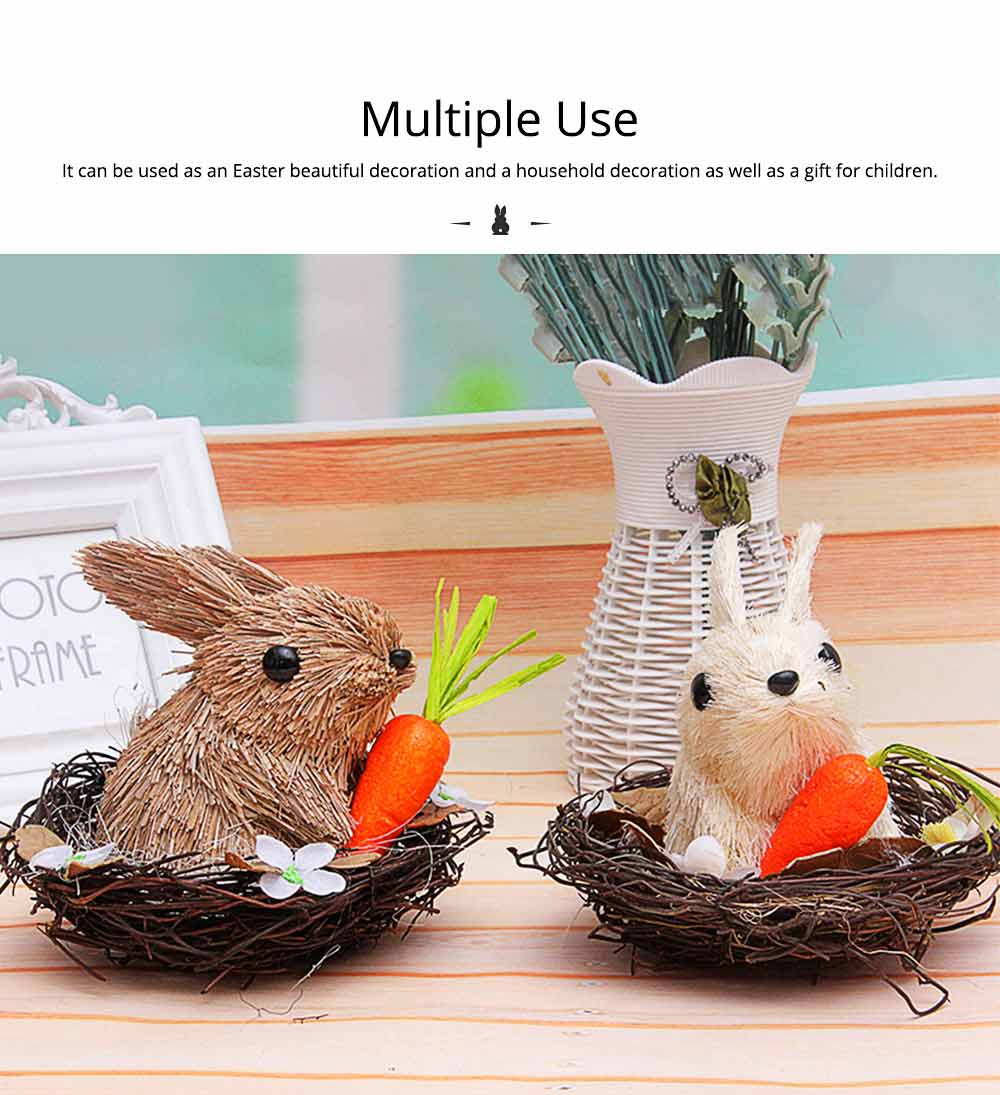 Easter Decorations - Hand-made Straw Bunny with Thorns Nest and Carrots, Mall and Shop Pendant 1