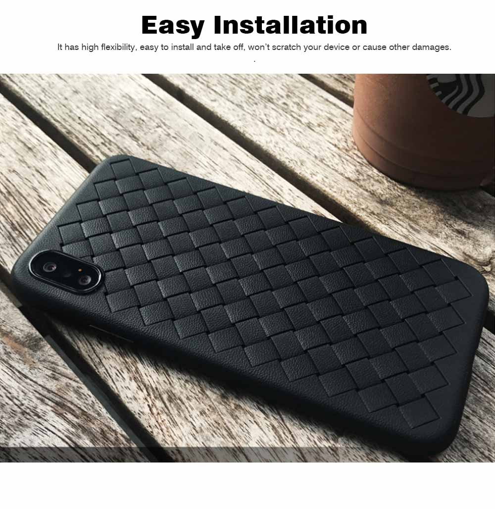 Knit Grain Phone Cover for iPhone X,XS,XS Max,XR,8,8P,7,7P,6S,6SP,6,6P, Anti-impact Weave Phone Case, Soft TPU Back Case 5