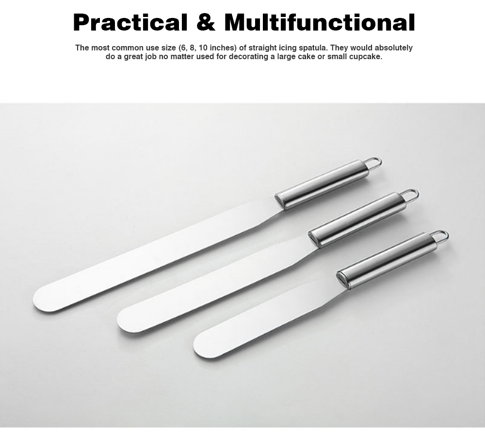 Kiss Knife Cake Tools, Stainless Steel Spatula Cake Cream Spatula Scraper, 8 Inch and 10 Inch 3