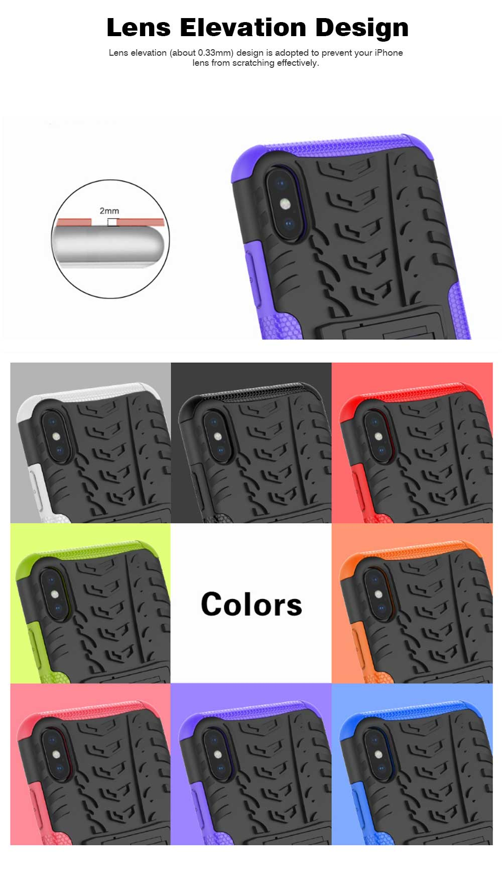 2- in-1 PC Hard Shell for iPhone 7/8/7P/8P/X/XS/XS Max, Anti-collision Hard Back Case with Stand Function, Businessman Protective Phone Cover 5