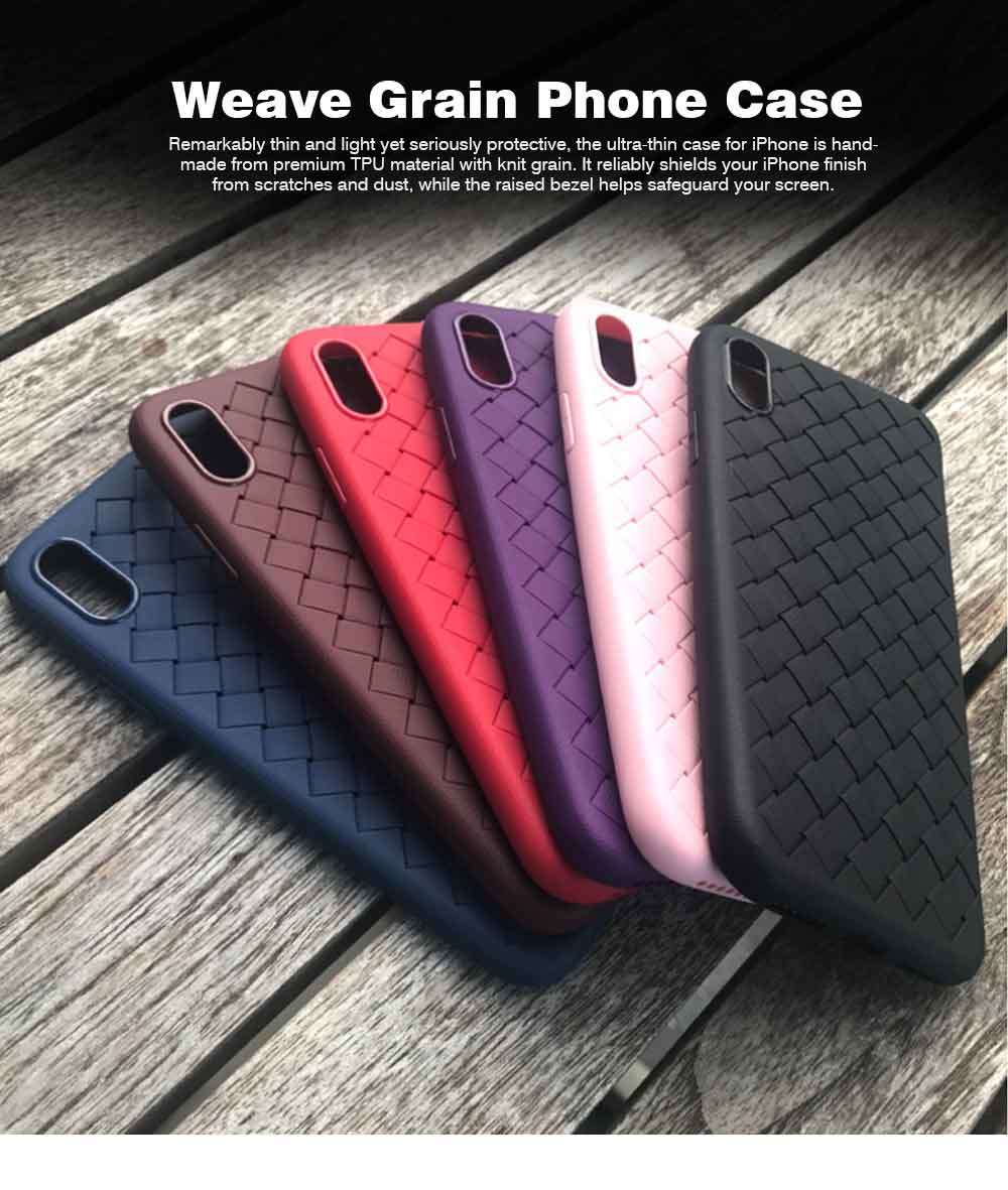 Knit Grain Phone Cover for iPhone X,XS,XS Max,XR,8,8P,7,7P,6S,6SP,6,6P, Anti-impact Weave Phone Case, Soft TPU Back Case 0