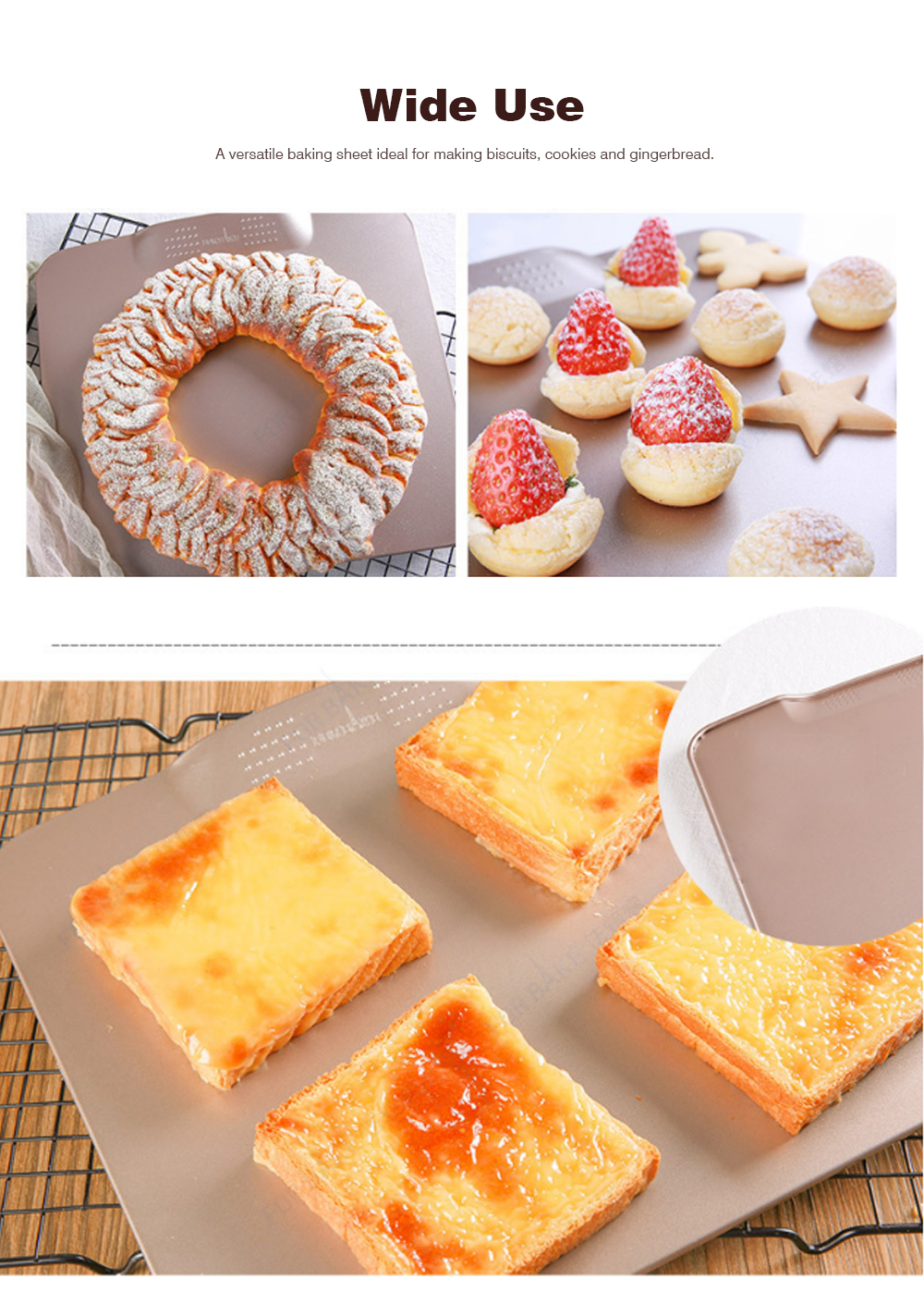 Boundless Double-sided Non-stick Baking Tray Tools For Macaron Biscuit Bread Puff 5