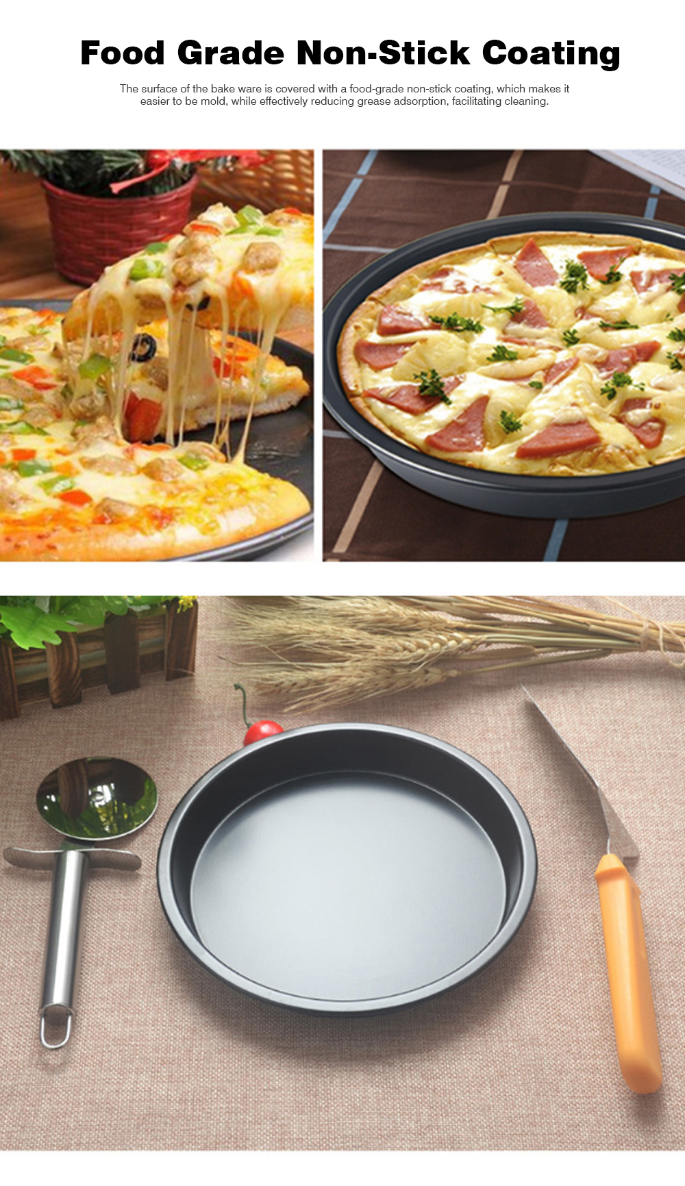 Thick Round 6 Inch Carbon Steel Non-stick PIZZA Baking Tray for DIY Household Baking Tray Baking Mold Oven 3