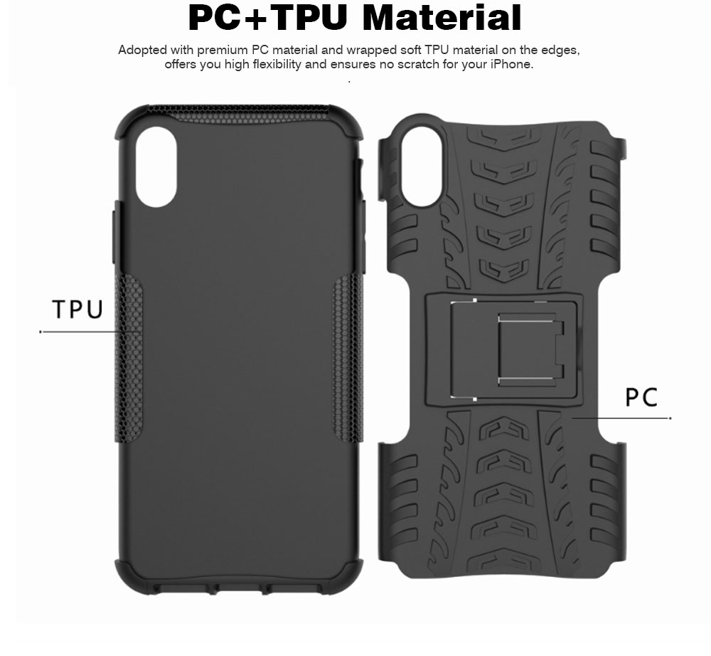 2- in-1 PC Hard Shell for iPhone 7/8/7P/8P/X/XS/XS Max, Anti-collision Hard Back Case with Stand Function, Businessman Protective Phone Cover 1
