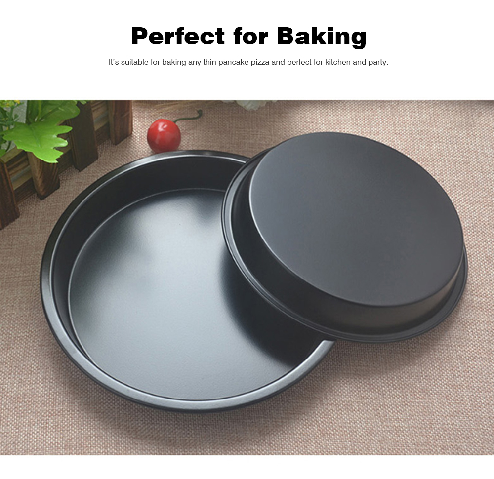 Thick Round 6 Inch Carbon Steel Non-stick PIZZA Baking Tray for DIY Household Baking Tray Baking Mold Oven 4