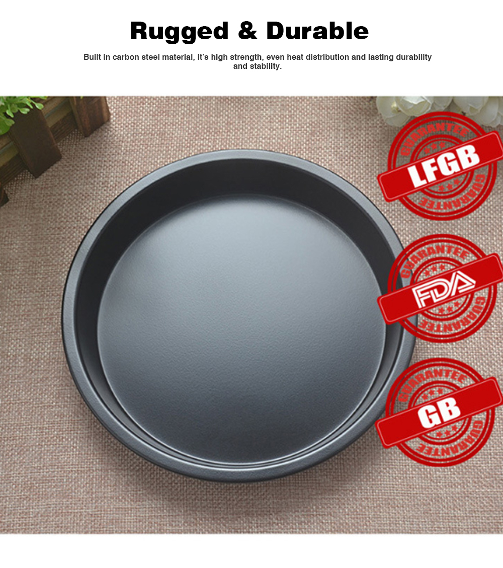 Thick Round 6 Inch Carbon Steel Non-stick PIZZA Baking Tray for DIY Household Baking Tray Baking Mold Oven 1