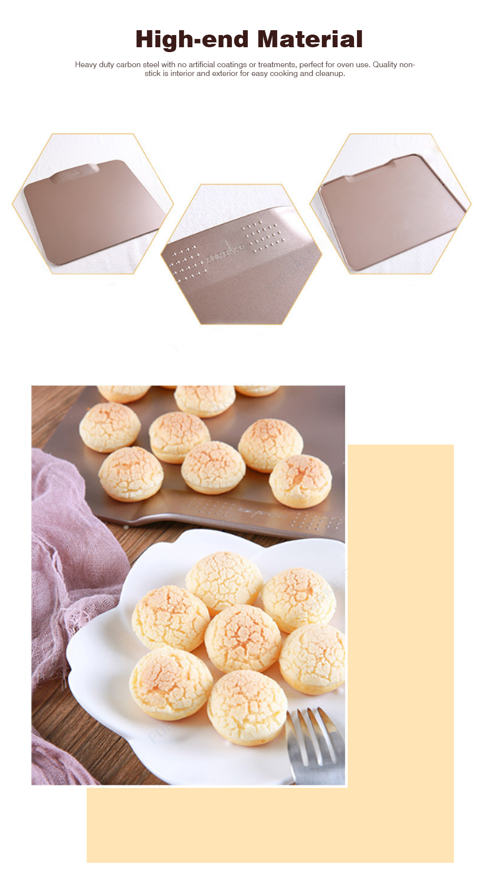 Boundless Double-sided Non-stick Baking Tray Tools For Macaron Biscuit Bread Puff 4