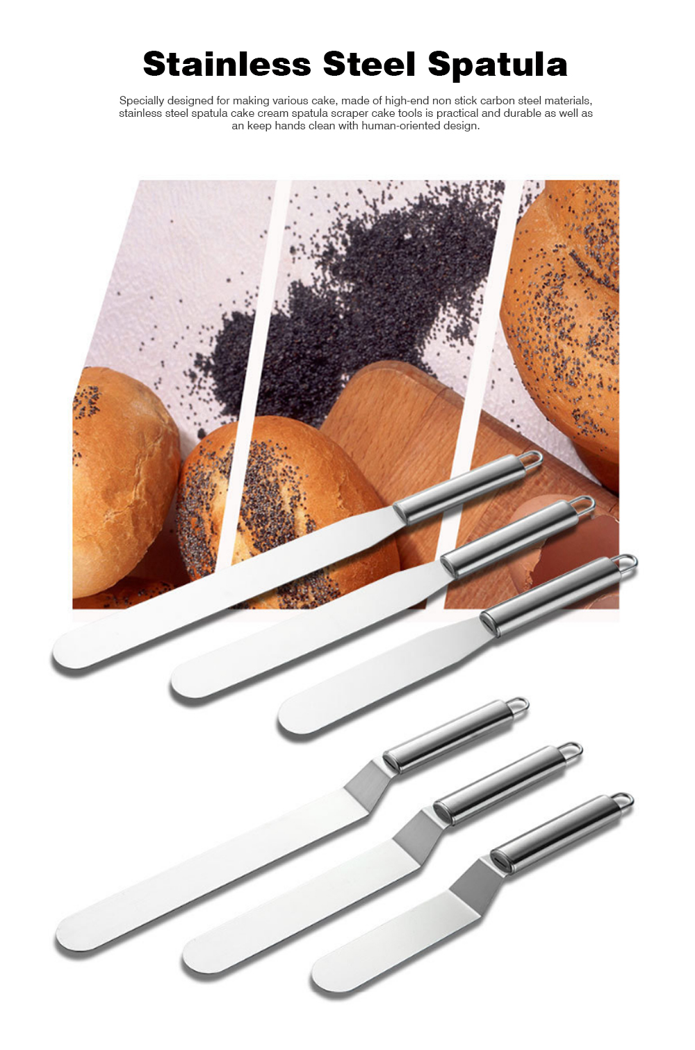 Kiss Knife Cake Tools, Stainless Steel Spatula Cake Cream Spatula Scraper, 8 Inch and 10 Inch 0