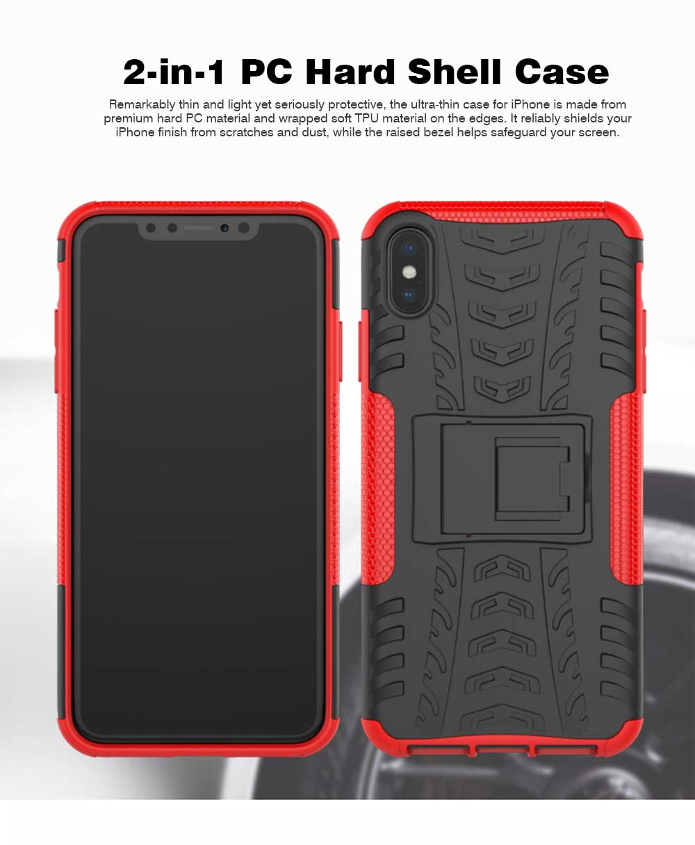 2- in-1 PC Hard Shell for iPhone 7/8/7P/8P/X/XS/XS Max, Anti-collision Hard Back Case with Stand Function, Businessman Protective Phone Cover 0
