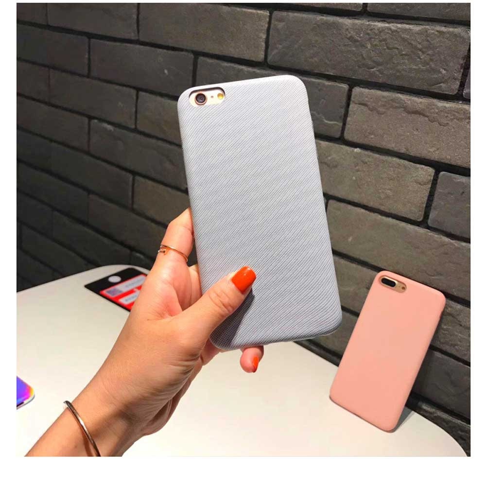 Cross Grain Leather Phone Back Cover for iPhone 6/6S/6P/6SP/7/8/7P/8P/XS, Pure Color 5
