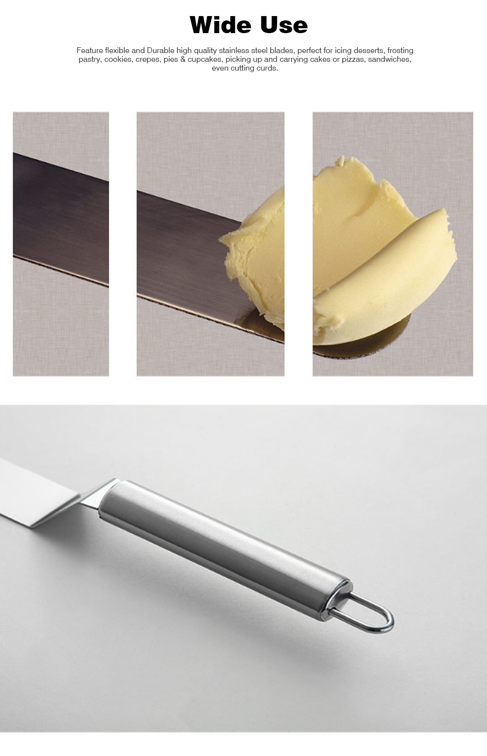 Kiss Knife Cake Tools, Stainless Steel Spatula Cake Cream Spatula Scraper, 8 Inch and 10 Inch 5