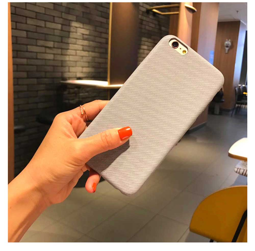 Cross Grain Leather Phone Back Cover for iPhone 6/6S/6P/6SP/7/8/7P/8P/XS, Pure Color 2