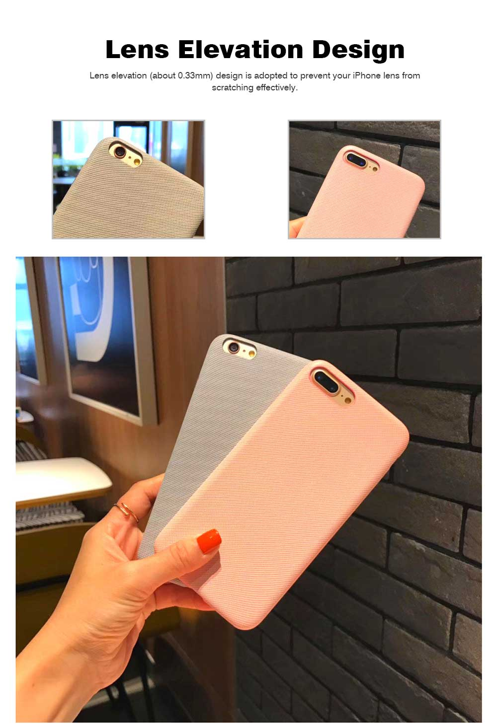 Cross Grain Leather Phone Back Cover for iPhone 6/6S/6P/6SP/7/8/7P/8P/XS, Pure Color 7