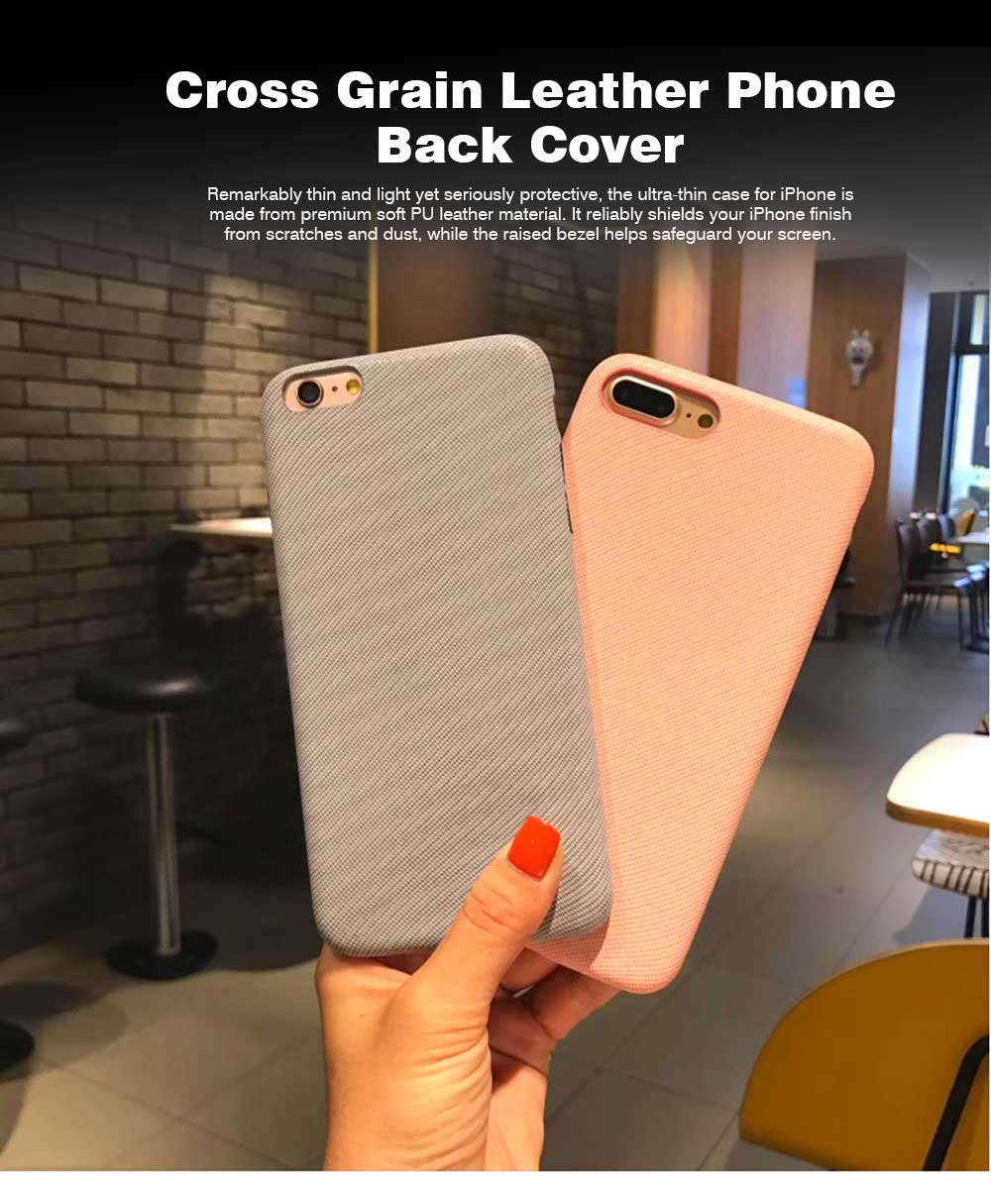 Cross Grain Leather Phone Back Cover for iPhone 6/6S/6P/6SP/7/8/7P/8P/XS, Pure Color 0