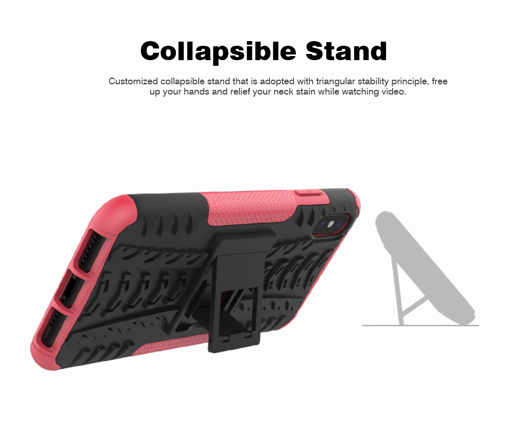 2- in-1 PC Hard Shell for iPhone 7/8/7P/8P/X/XS/XS Max, Anti-collision Hard Back Case with Stand Function, Businessman Protective Phone Cover 4