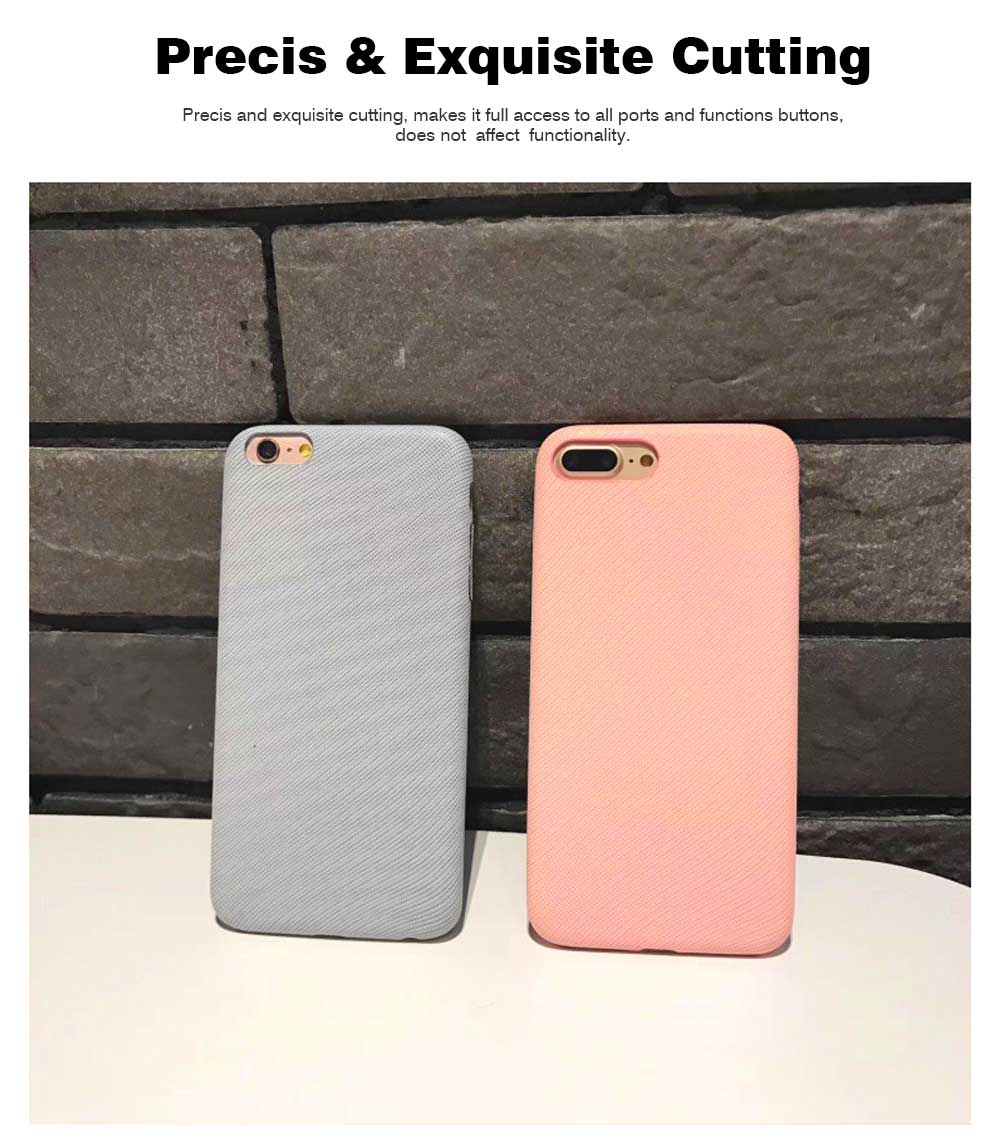 Cross Grain Leather Phone Back Cover for iPhone 6/6S/6P/6SP/7/8/7P/8P/XS, Pure Color 6