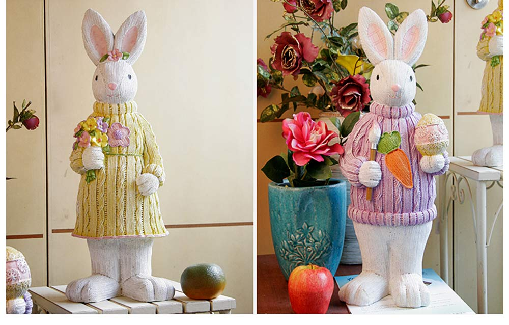 Resin Easter Hand-Painted Bunny with Seating Post for Any Room, Shelf or Windowsill, Decorative Centerpiece 4