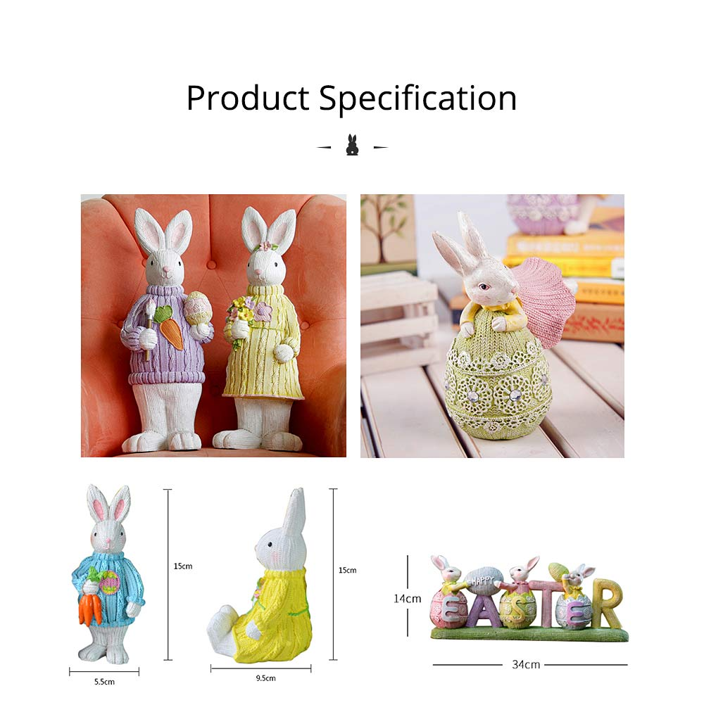 Resin Easter Hand-Painted Bunny with Seating Post for Any Room, Shelf or Windowsill, Decorative Centerpiece 10