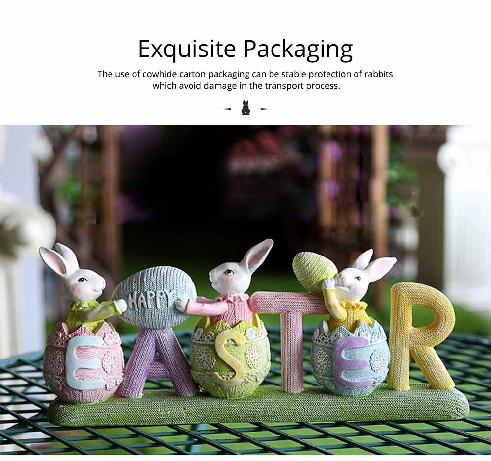 Resin Easter Hand-Painted Bunny with Seating Post for Any Room, Shelf or Windowsill, Decorative Centerpiece 5