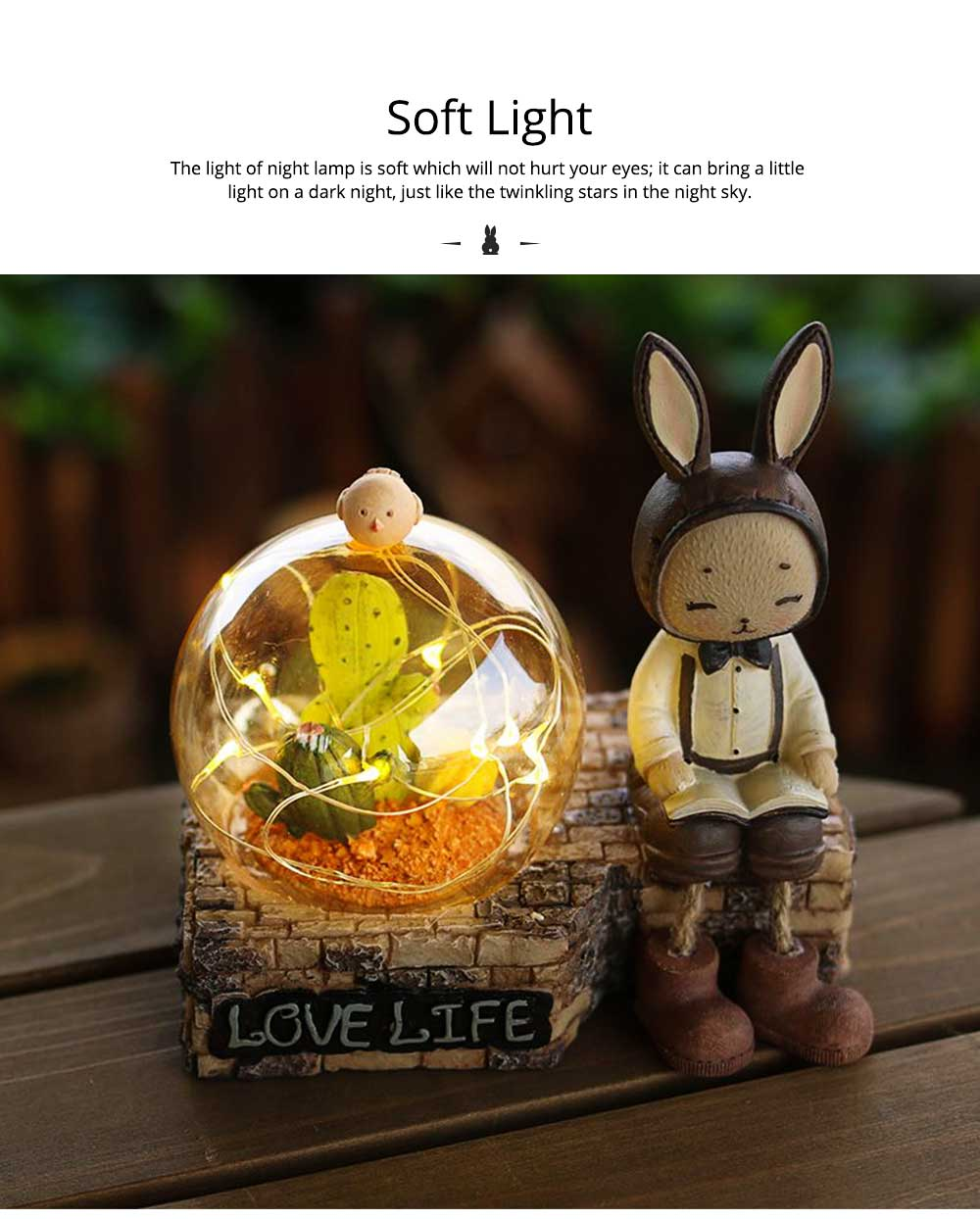 Creative Jenny Rabbit Toy Night Light, Decorative Table Lamp Birthday Gifts for Kids Baby Girls Boys 3