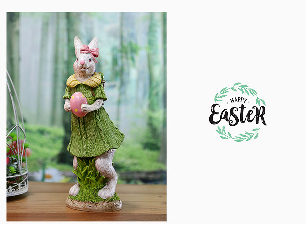 Resin Easter Hand-Painted Bunny with Seating Post for Any Room, Shelf or Windowsill, Decorative Centerpiece 9