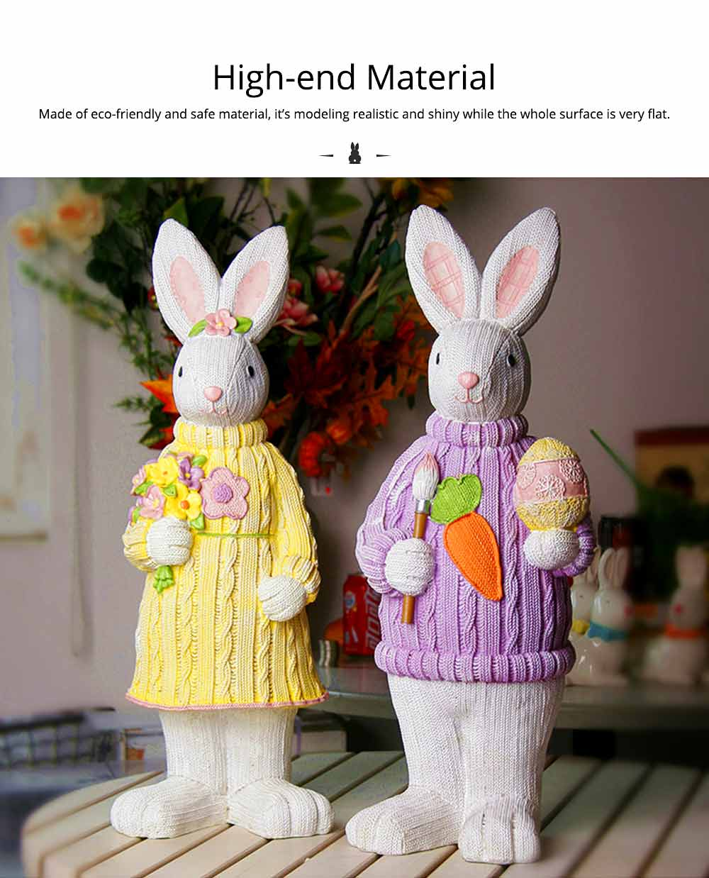 Resin Easter Hand-Painted Bunny with Seating Post for Any Room, Shelf or Windowsill, Decorative Centerpiece 2