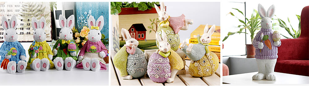 Resin Easter Hand-Painted Bunny with Seating Post for Any Room, Shelf or Windowsill, Decorative Centerpiece 1
