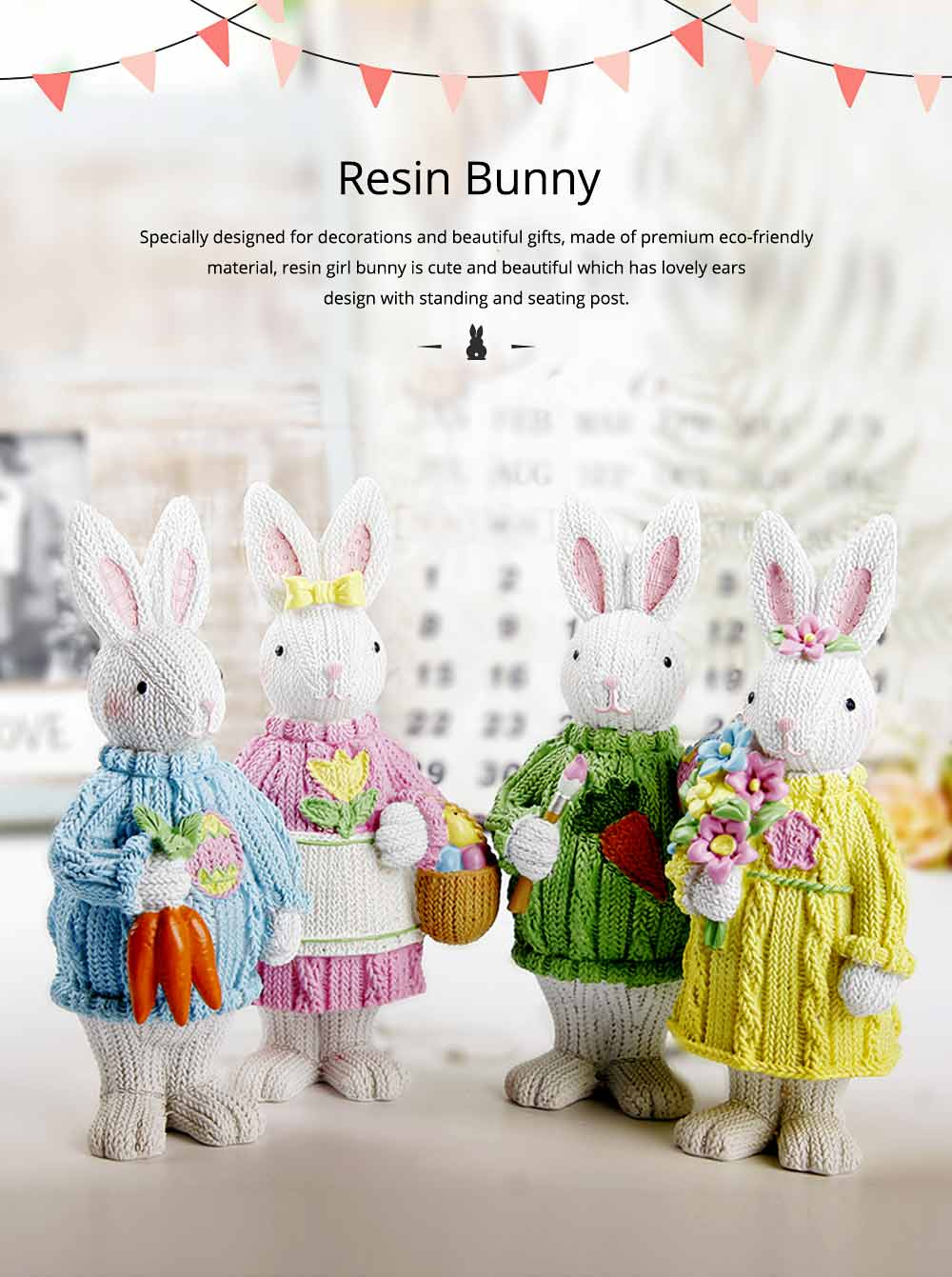 Resin Easter Hand-Painted Bunny with Seating Post for Any Room, Shelf or Windowsill, Decorative Centerpiece 0