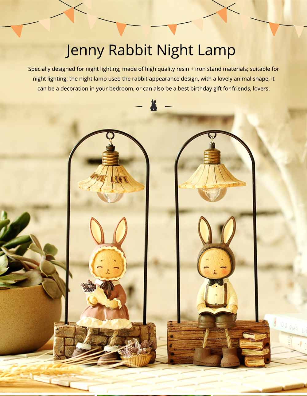 Creative Jenny Rabbit Toy Night Light, Decorative Table Lamp Birthday Gifts for Kids Baby Girls Boys 0