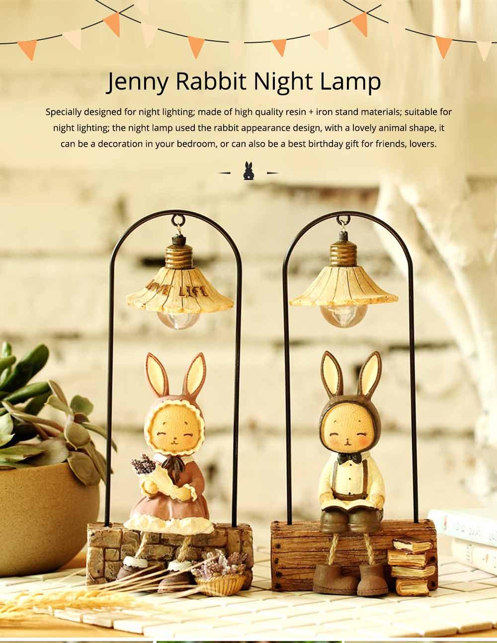 Creative Jenny Rabbit Toy Night Light, Decorative Table Lamp Birthday Gifts for Kids Baby Girls Boys 6