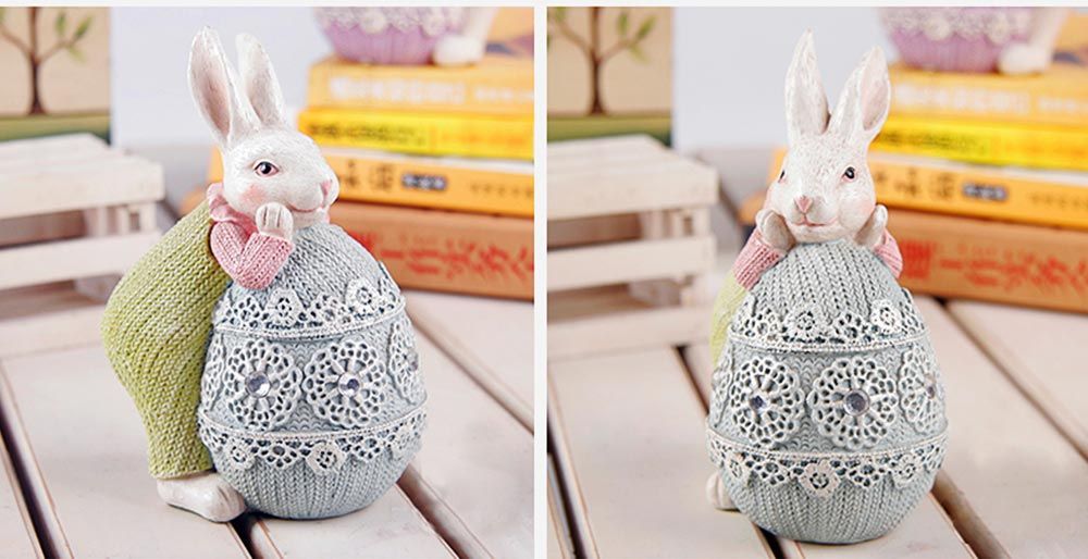 Resin Easter Hand-Painted Bunny with Seating Post for Any Room, Shelf or Windowsill, Decorative Centerpiece 7