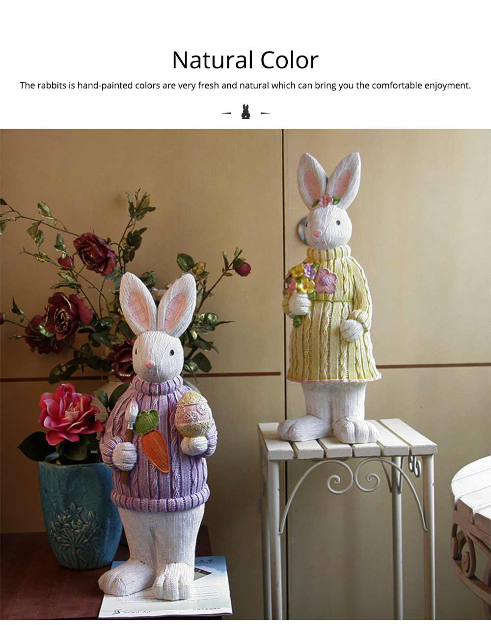 Resin Easter Hand-Painted Bunny with Seating Post for Any Room, Shelf or Windowsill, Decorative Centerpiece 3
