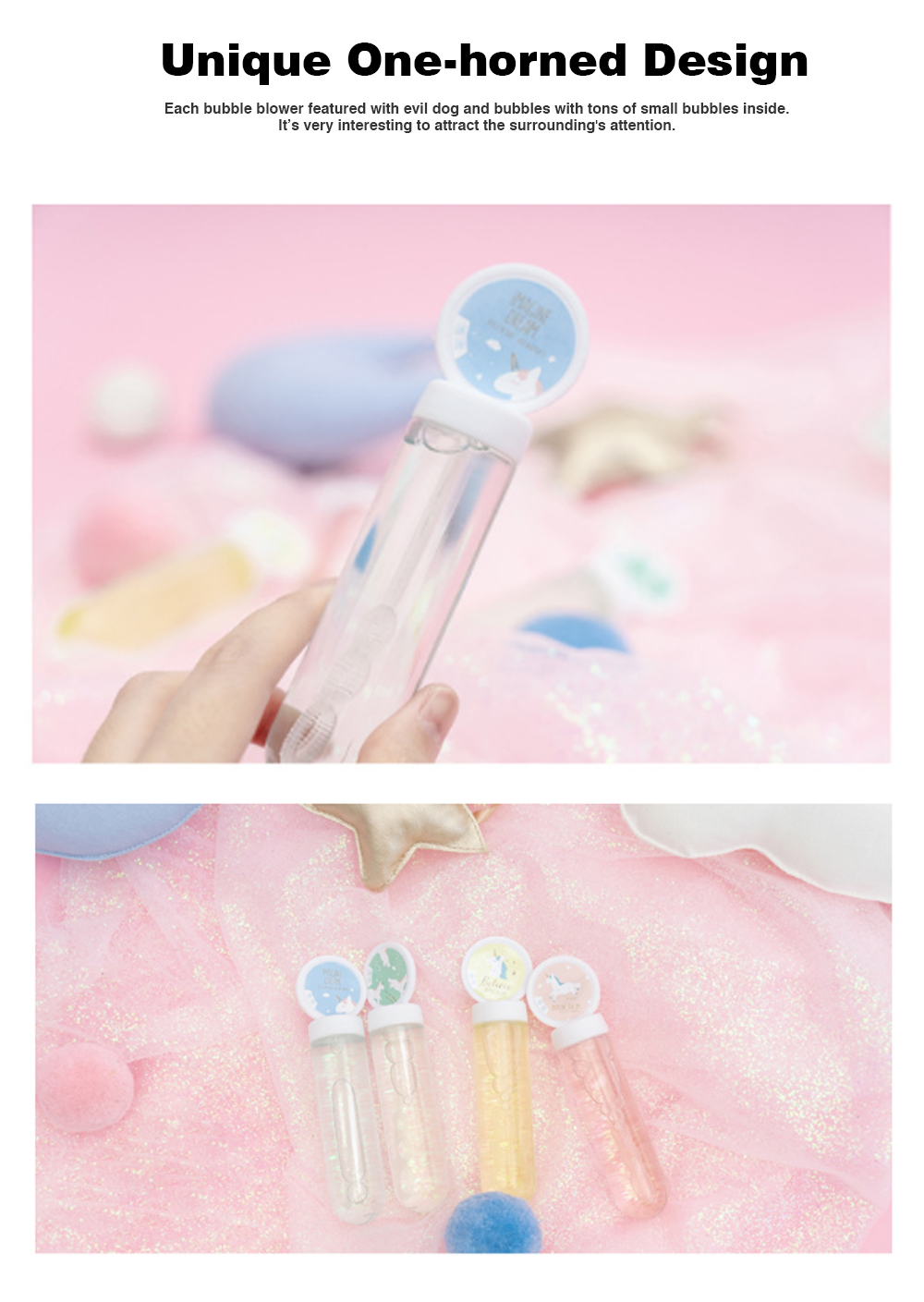 Mini Blowing Bubble Water Toys with Love Song Wheat and One-horned and Fat Test Tube Design for Students 1