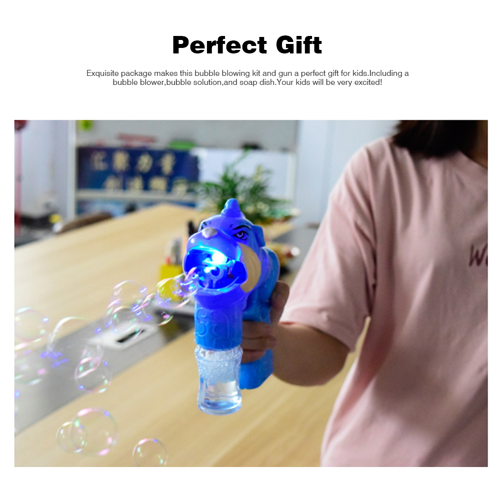 Children's Electric Bubble Gun, Glowing Music Blowing Bubble Toy, Automatic Bubble Machine With Bubble Water 5