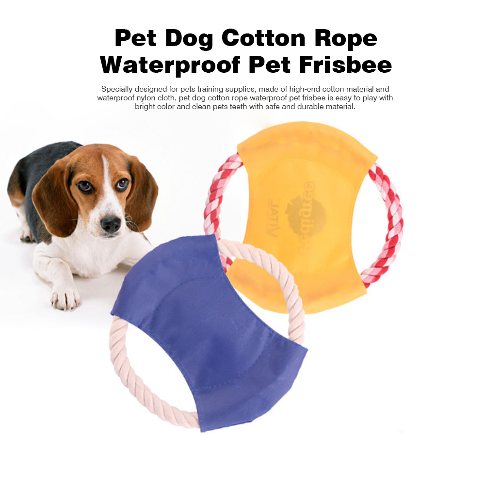 Pet Dog Cotton Rope Waterproof Pet Frisbee, Color Canvas Bite Dog Discs for Pet Training 0