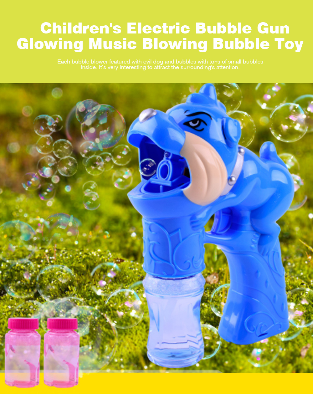 Children's Electric Bubble Gun, Glowing Music Blowing Bubble Toy, Automatic Bubble Machine With Bubble Water 0