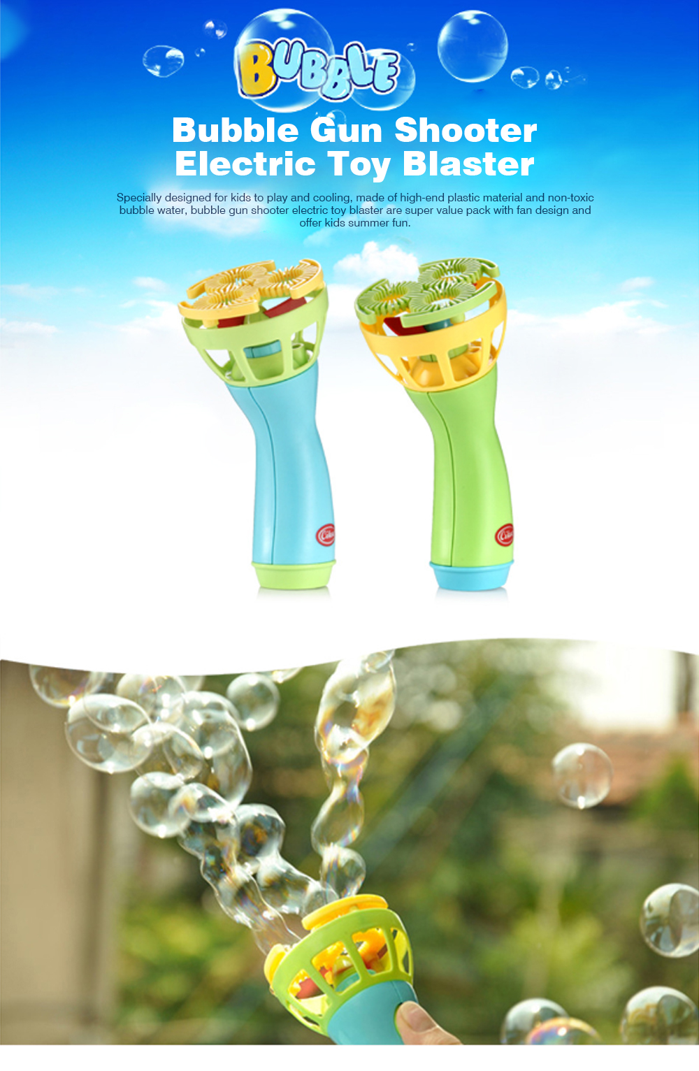Bubble Gun Shooter Electric Toy Blaster with 5 Barrels, Leak Resistant Bubble Machine with Small Fan for Kids to Cooling 0