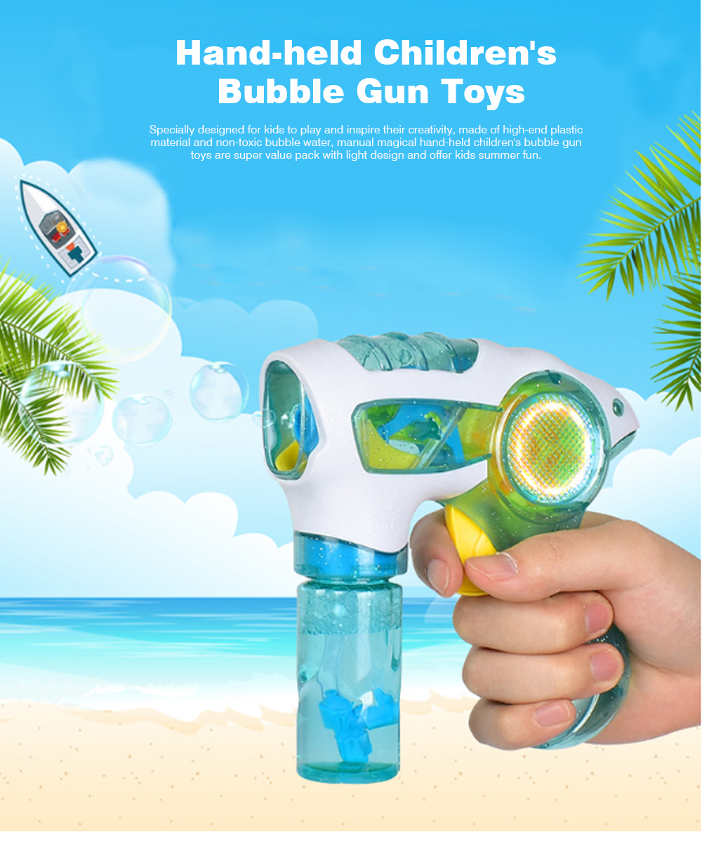 Manual Magical Children's Bubble Gun Toys with Colorful Light for Kids Enjoy Summer Fun 0